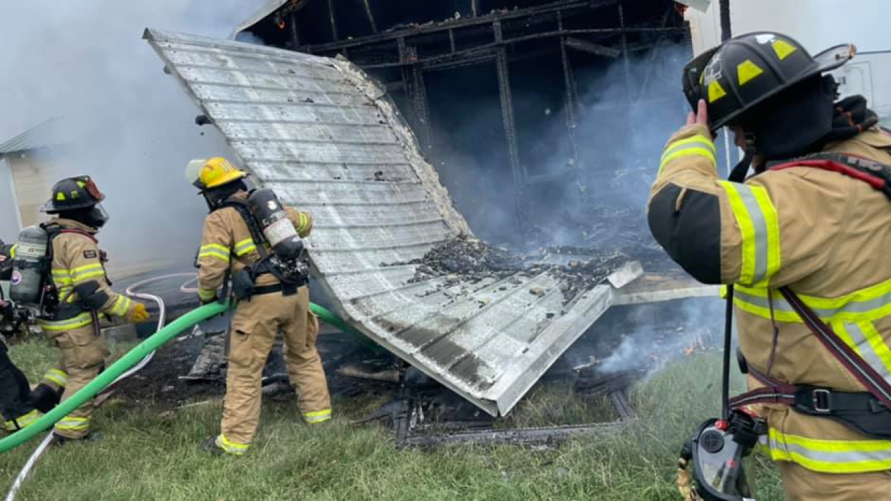 Harrison County Fire Rescue and Ocean Springs Fire Department assisting Houma fire crews on structure fire Sunday afternoon