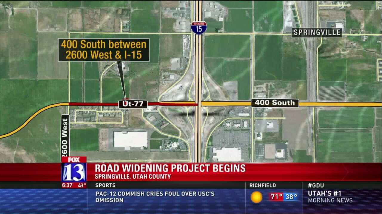 Construction Alert: UDOT widening 400 S. in Springville