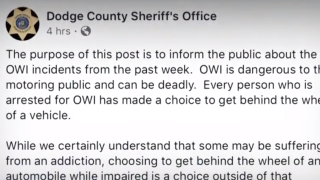 Dodge County Sheriffs Office puts OWI arrest on blast