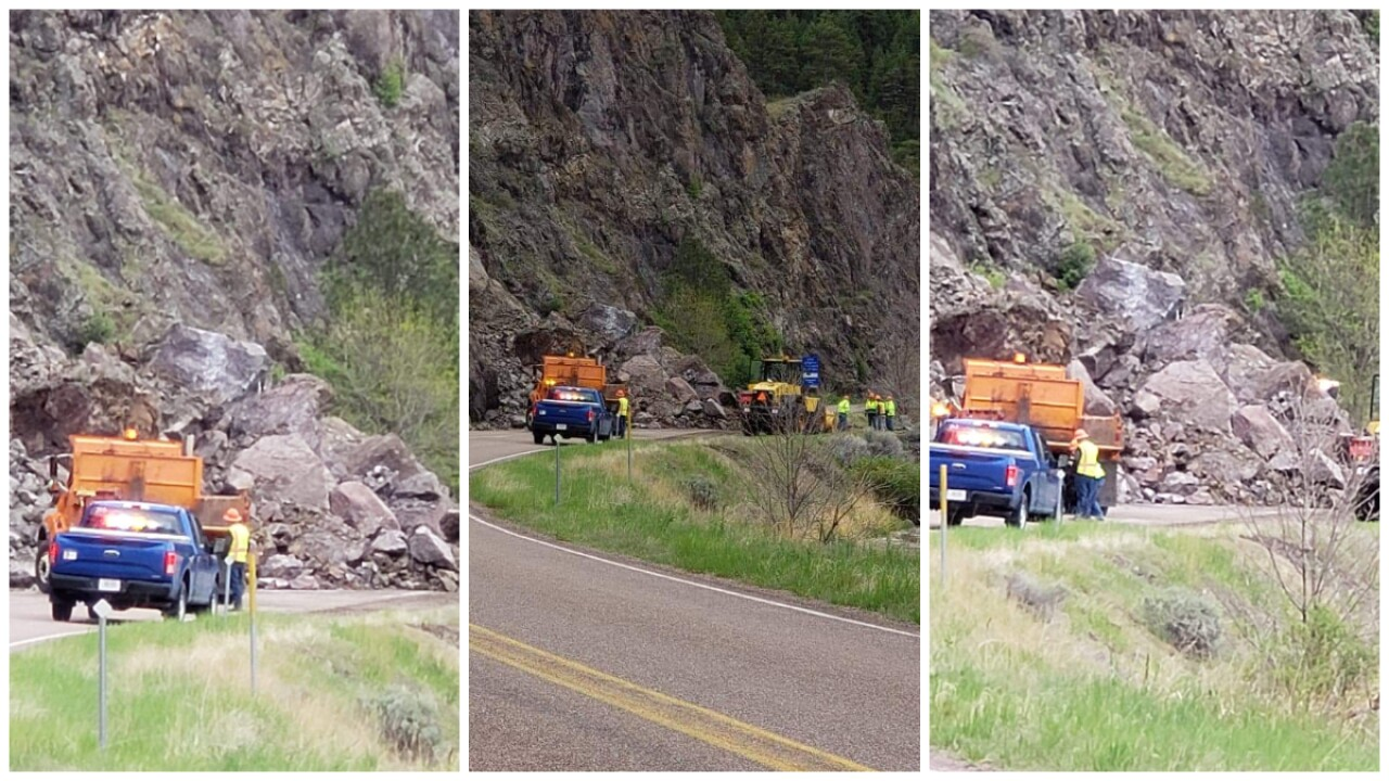 Rock slide closes road north of Craig
