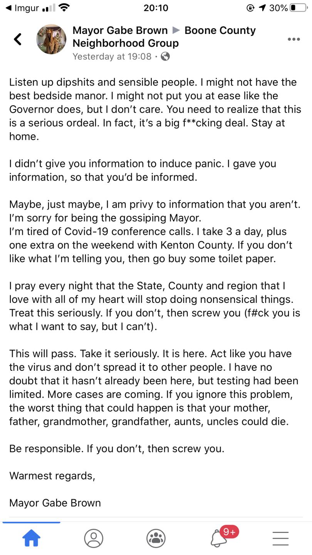 Mayor Gabe Brown Facebook post