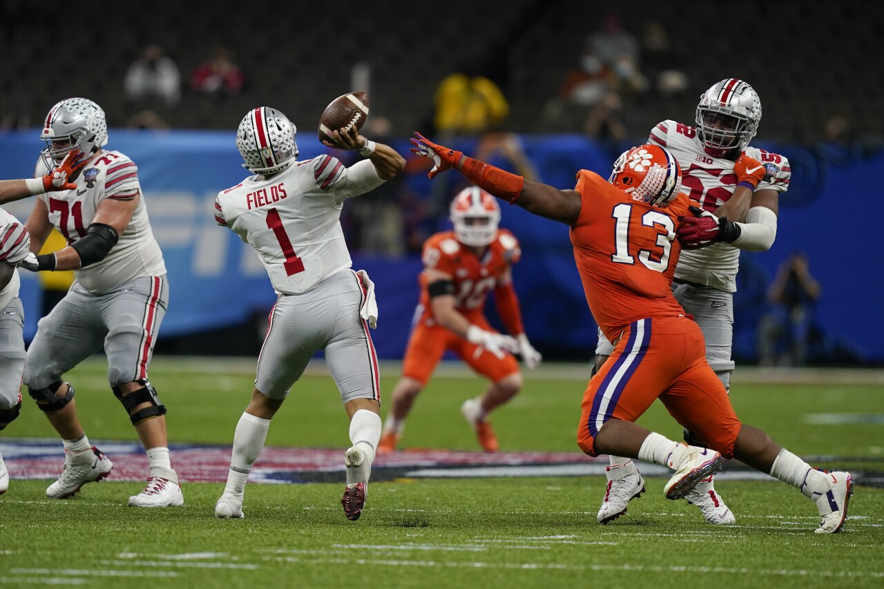 Ohio State Buckeyes QB Justin Fields vs. Clemson Tigers in College Football Playoff semifinal at Sugar Bowl