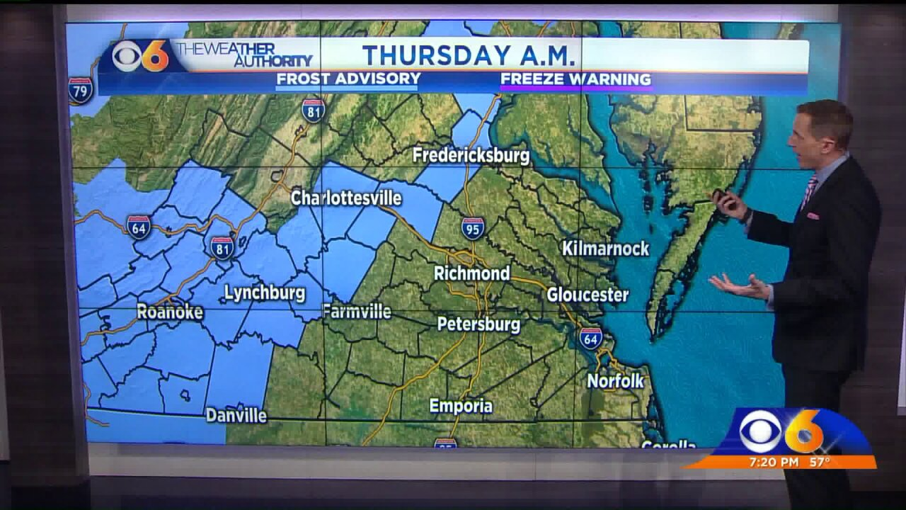 Frost advisory issued for parts of Virginia Thursdaymorning