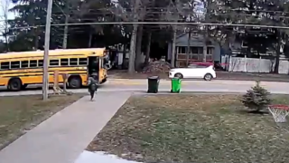 Surveillance video shows car failing to stop for school bus.