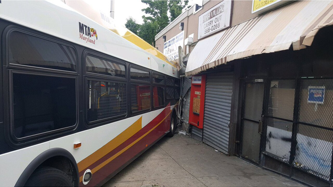 MTA bus hits pawnshop in NW Baltimore