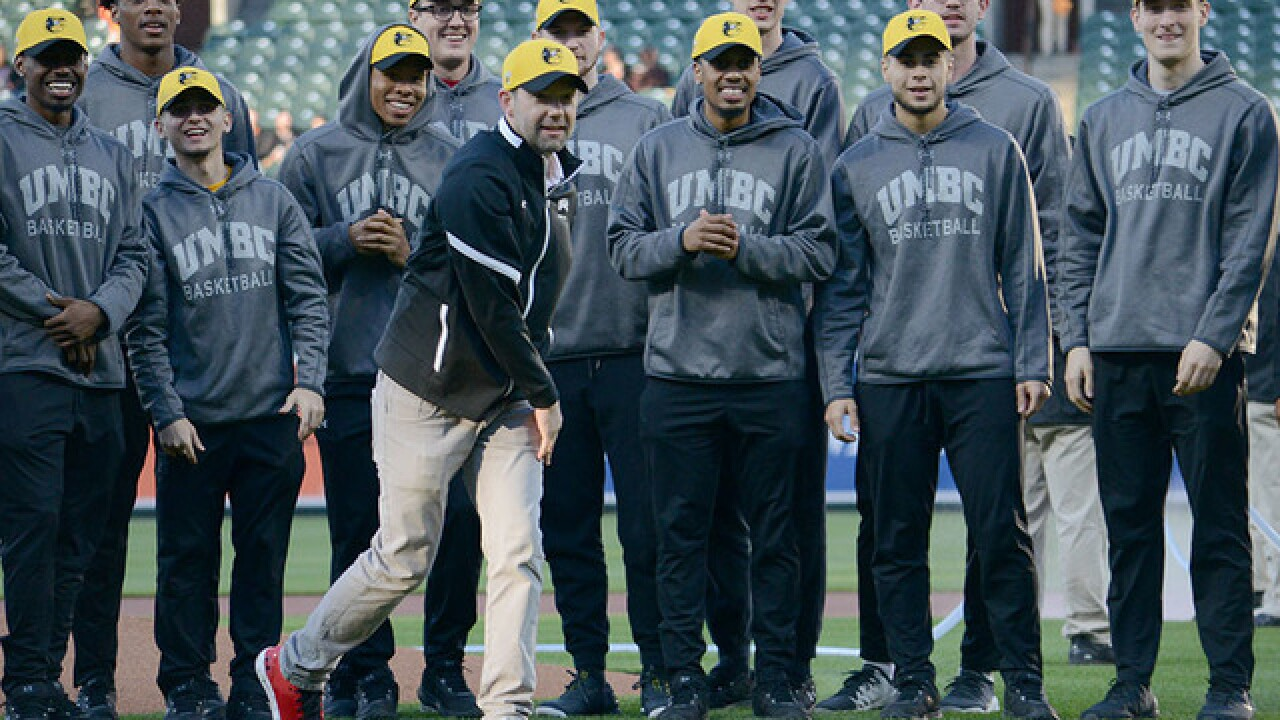 UMBC celebrates first pitch at O's game