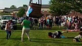 Hot air balloon crash-lands into a crowd at a Missouri festival, injuring one