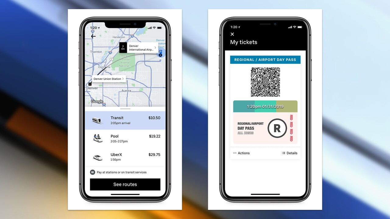 You can now use the Uber app to buy RTD bus, train tickets