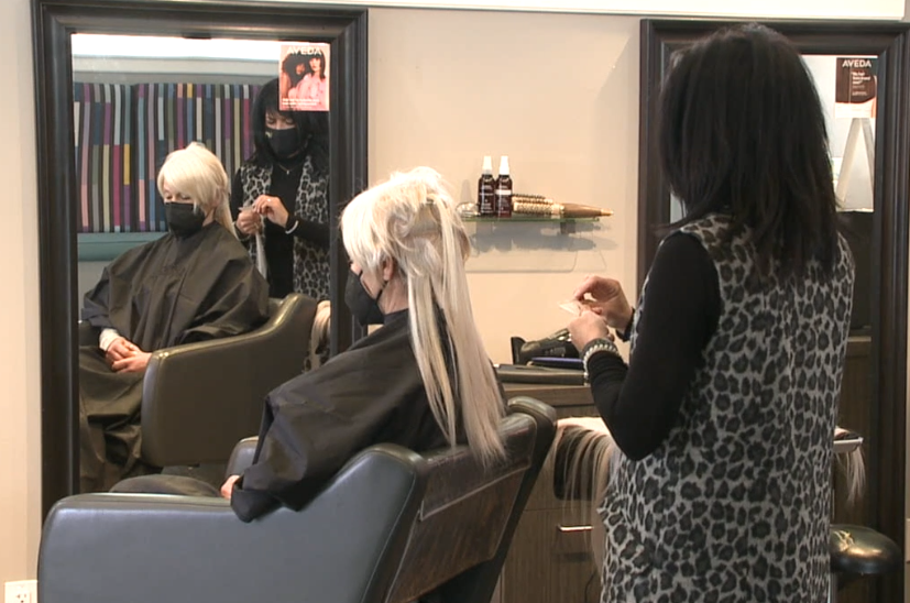 Hair being done at Coiffeteria