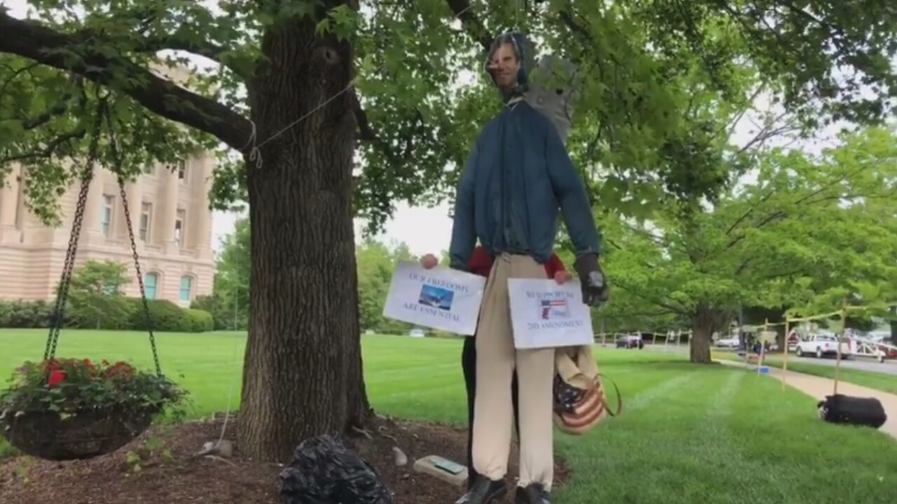Kentucky governor hung in effigy by protesters gathered outside mansion