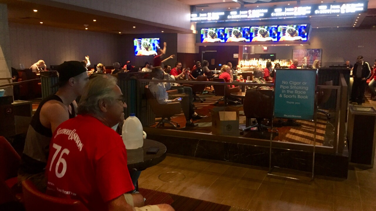 Vegas locals celebrated a USA win over England at Palace Station Tuesday.
