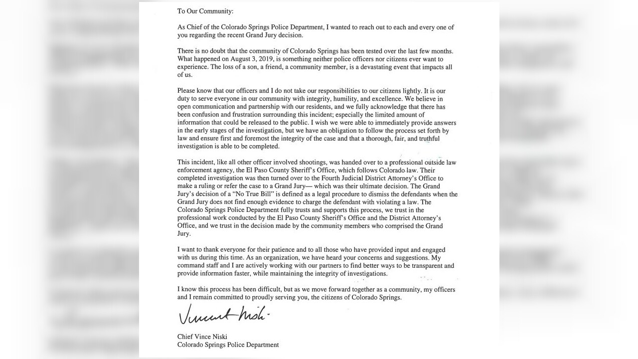 Community letter from CSPD Chief Vince Niski