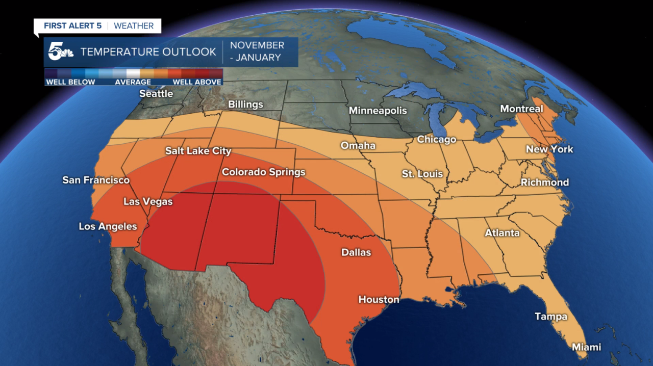 90 Day Temperature Probability Compared to Average