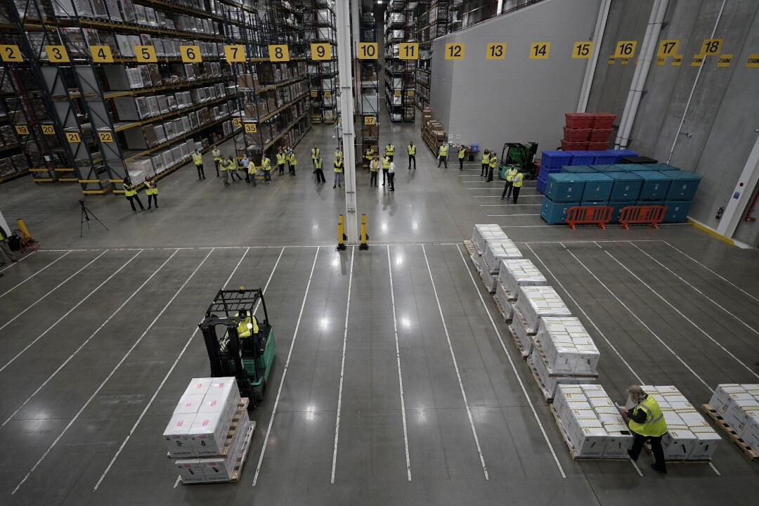 Pfizer Portage plant COVID-19 vaccine shipping pallets with boxes December 13, 2020