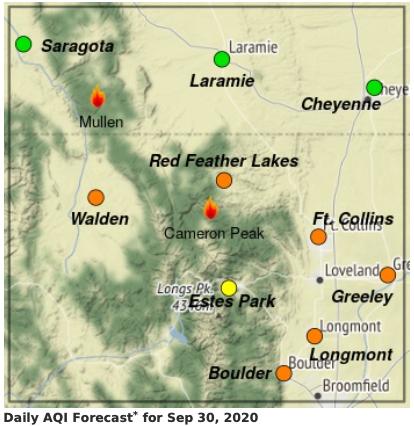 Cameron Peak Fire smoke map_Sept 30 2020