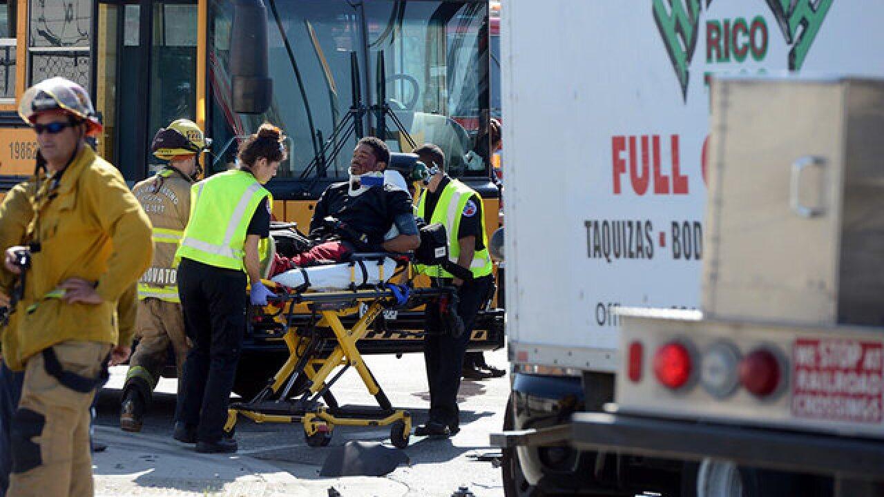 Stolen taco truck fleeing police hits school bus