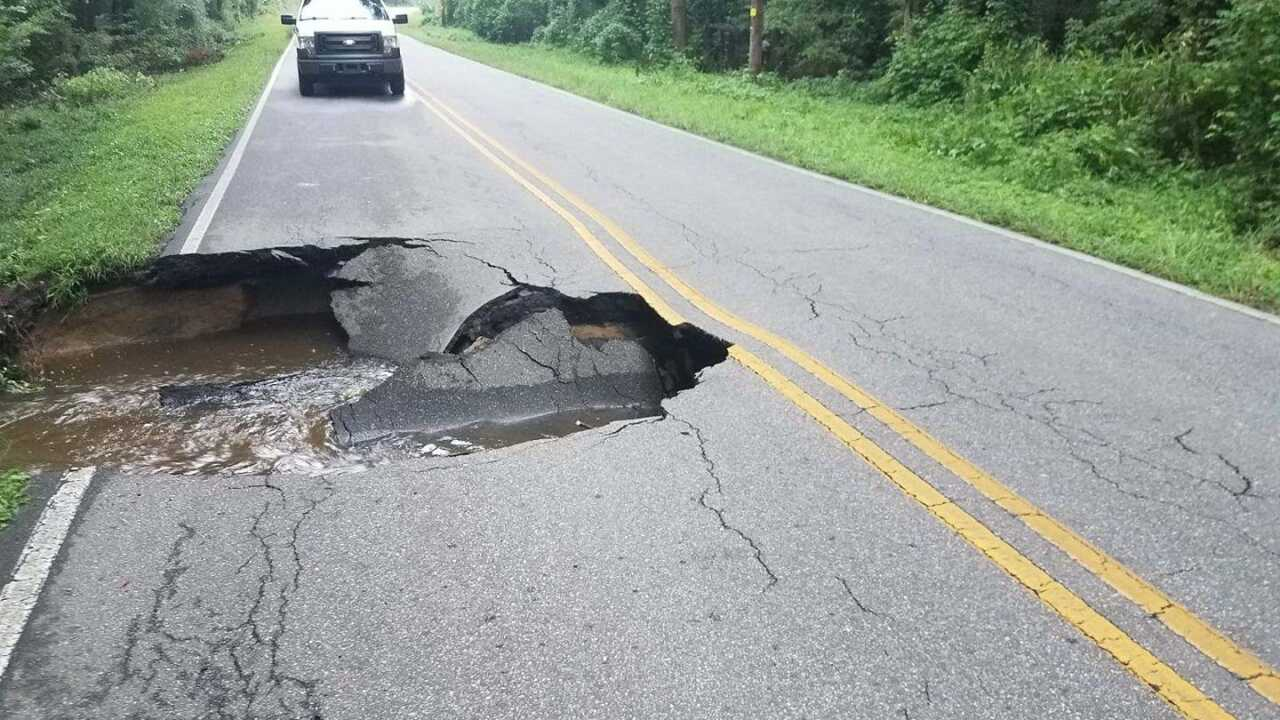 Section of Pasquotank County roadway washed away