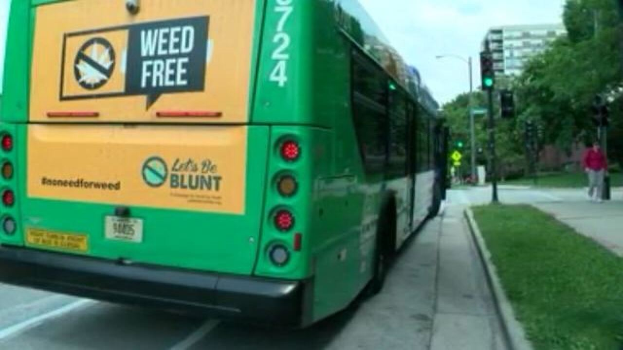 Anti-weed phrases on buses created by teens