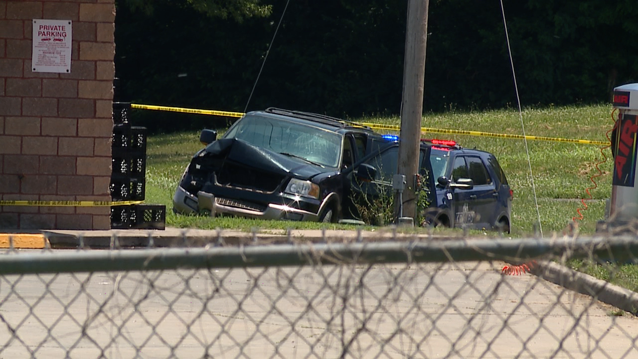 Wrecked Stolen SUV involved in June 20 KCK OIS