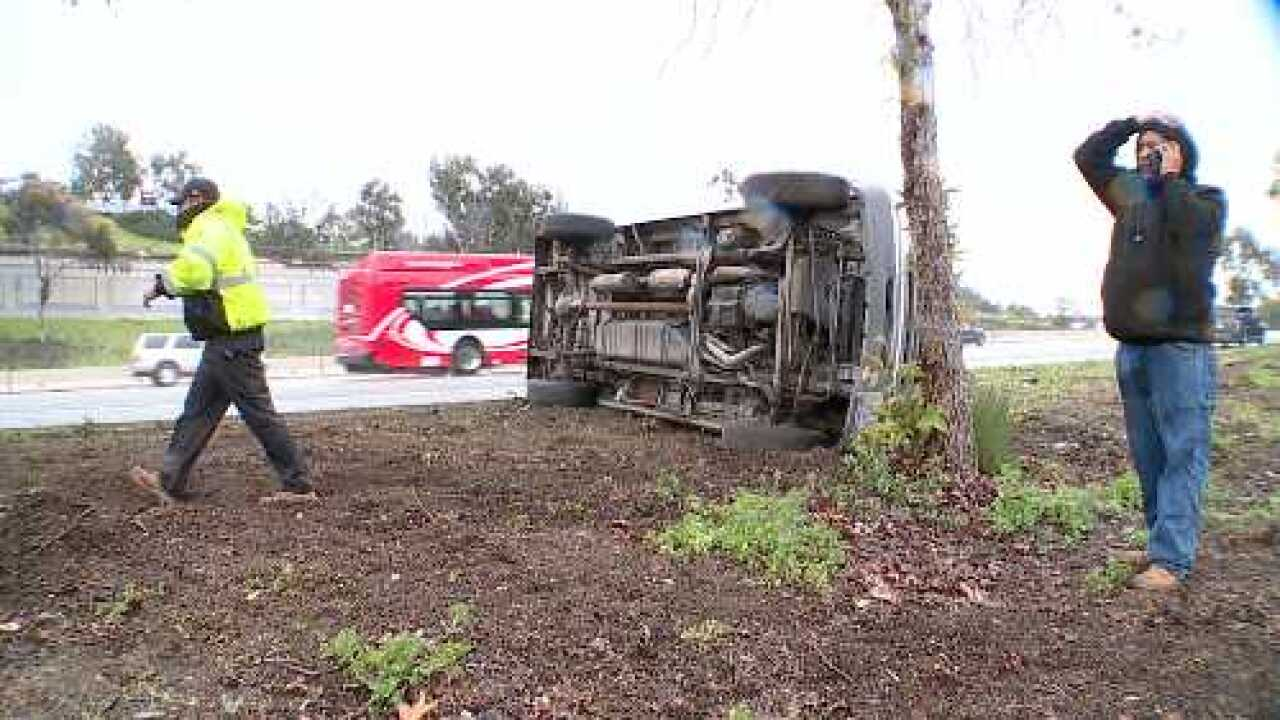 Scattered showers cause many accidents in San Diego County