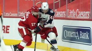 Blue Jackets Red Wings Hockey Filip Hronek