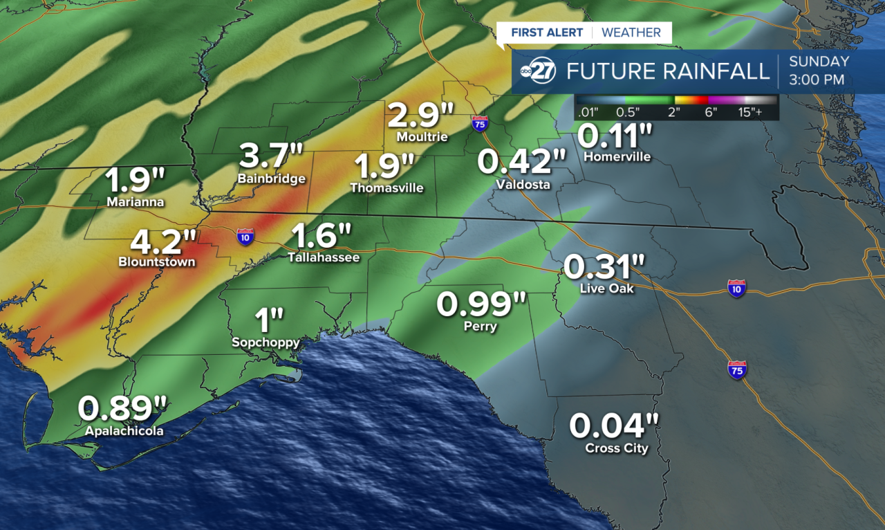 Rainfall forecast through Sunday