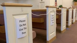 Church pews socially distanced