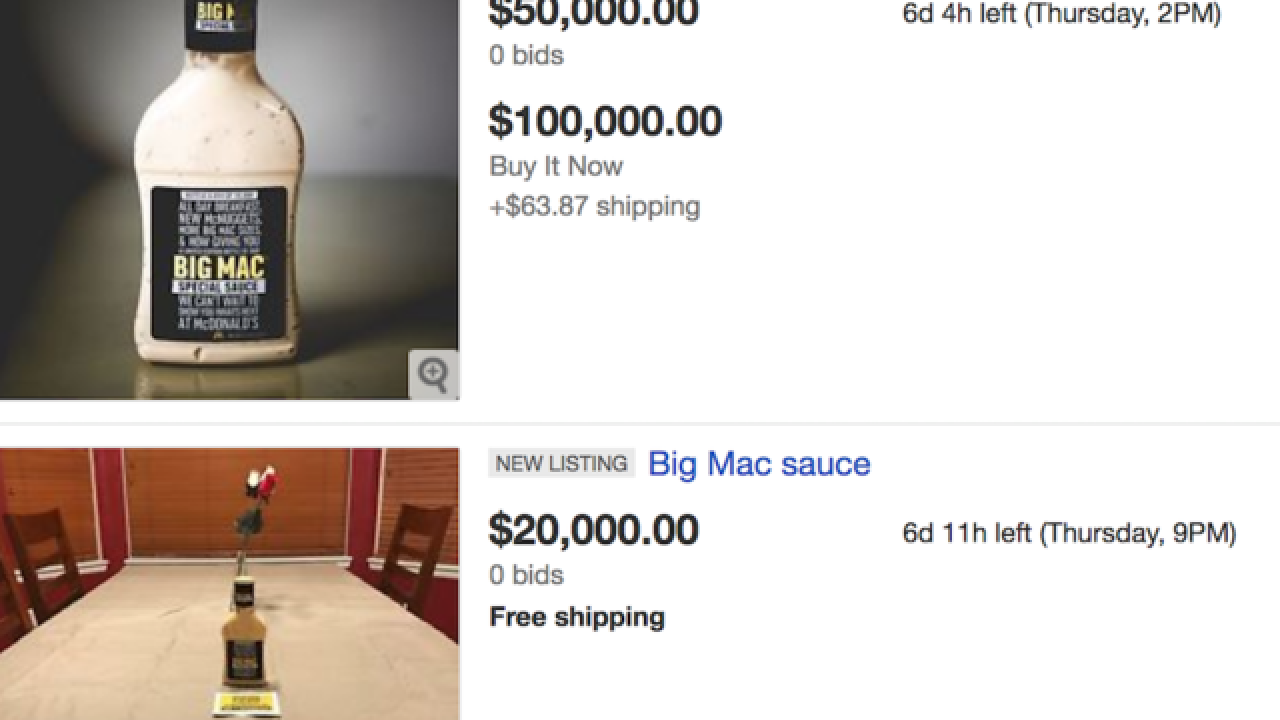 McDonald's Big Mac Sauce bottles selling for up to $50K on eBay