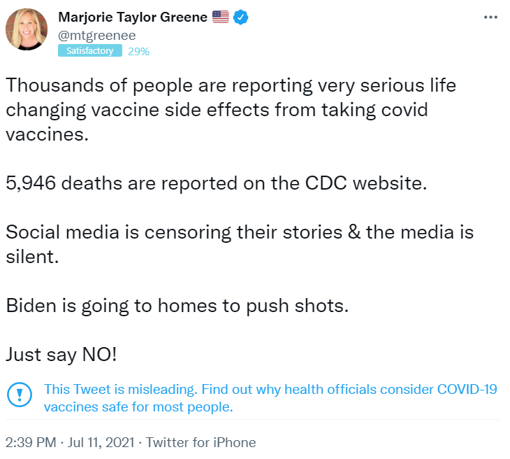 Marjorie Taylor Green misleading tweet