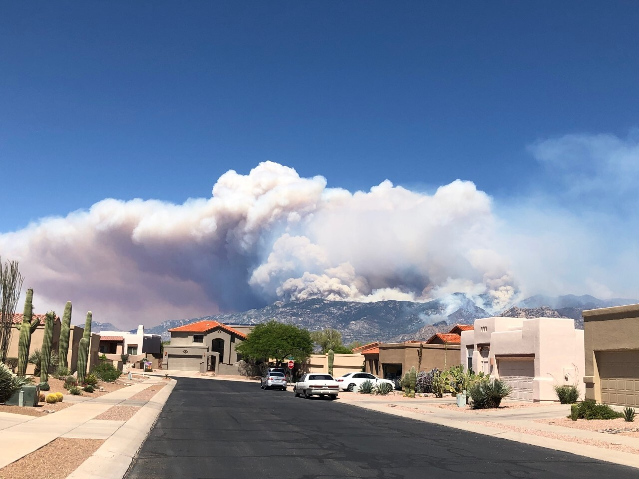 Smoke billows from the top of Mt. Lemmon and the Catalina Mountain ranges from the Bighorn Fire