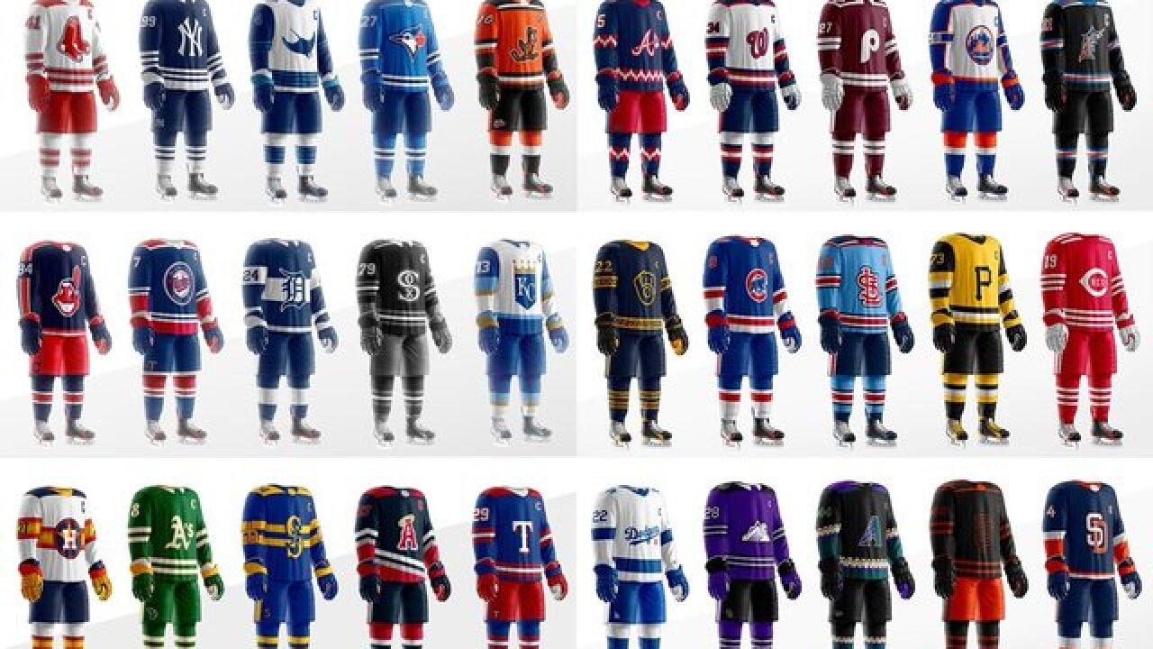 MLB jerseys recreated into hockey sweaters