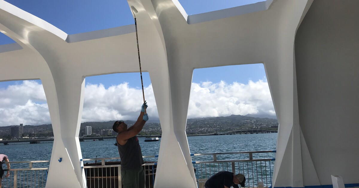 Navy personnel clean USS Arizona as re-opening approaches