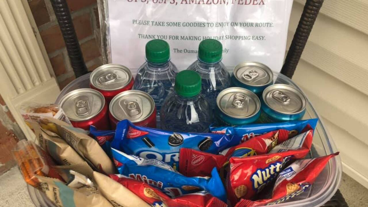 Basket of goodies left at the doorstep for package delivery drivers. Photo courtesy of Kathy Ouma.