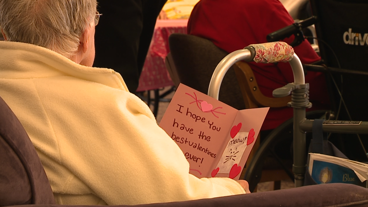 Brunswick journalism students deliver Valentine's Day cards to seniors with help from two Cavs legends