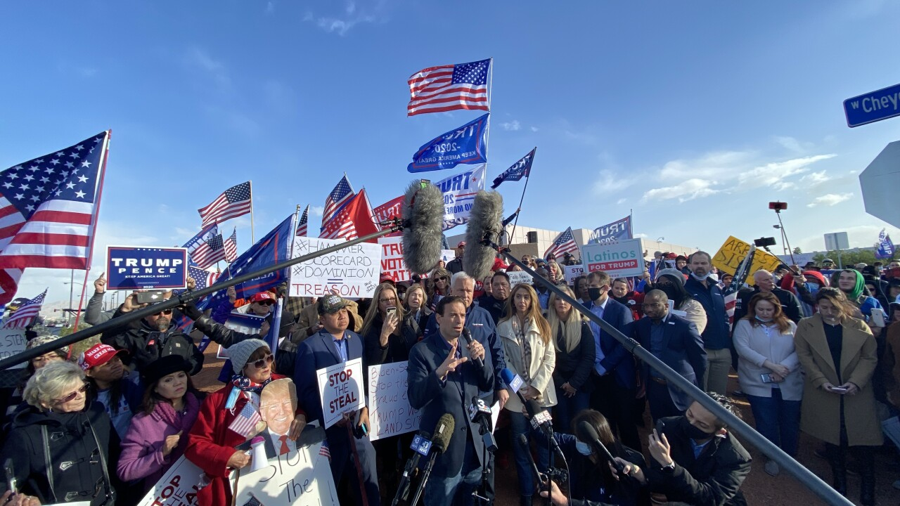 Former Nevada Attorney General and Trump Campaign Nevada Co-Chair Adam Laxalt and American Conservative Union Chair Matt Schlapp joined dozens of the President Trump's supporters and made several unsubstantiated claims regarding the election at a protest and news conference Sun. Nov. 8, 2020