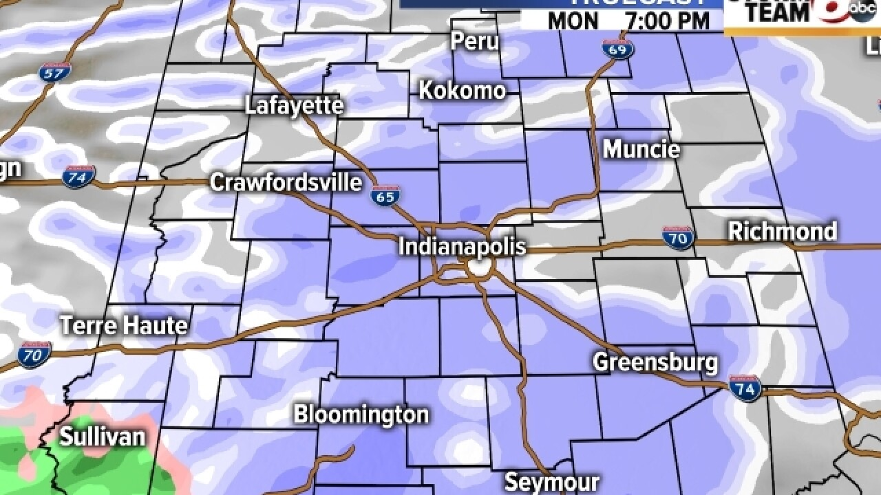 TIMELINE: Expect snow north of Indianapolis