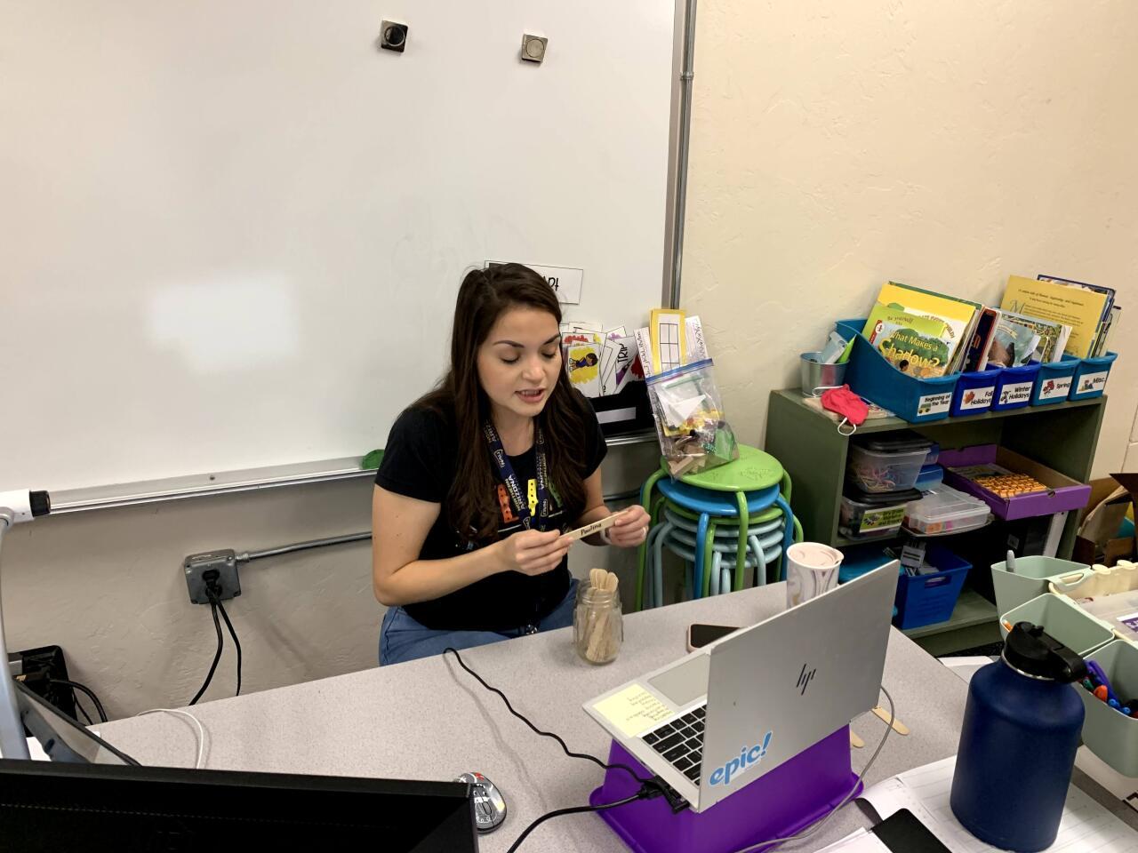 1st Grade teacher Anissa Jimenez teaches with manipulatives