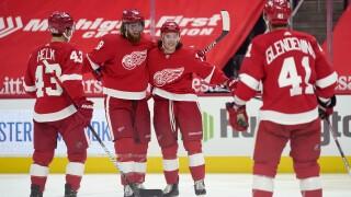 Darren Helm, Marc Staal, Troy Stecher, Luke Glendening Blackhawks Red Wings Hockey