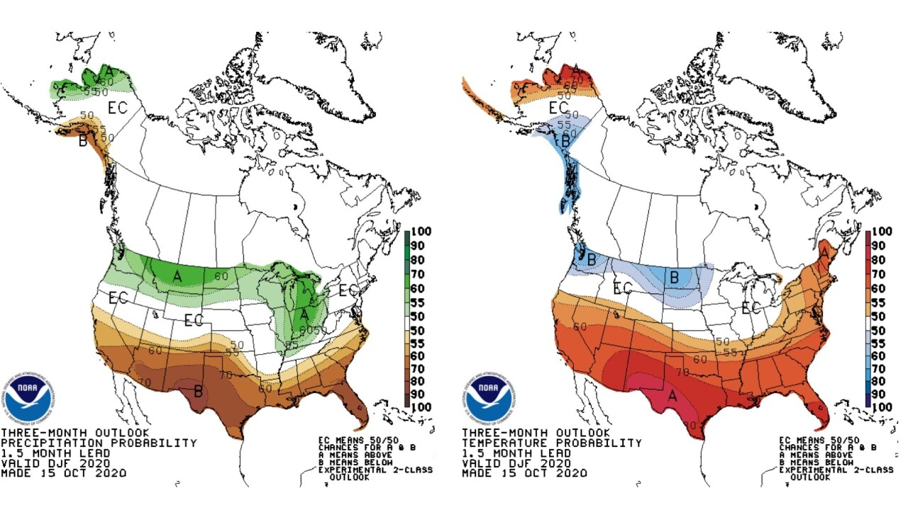 NOAA's Climate Prediction Center is predicting a warmer and dryer than normal pattern across the southern U.S. this winter.