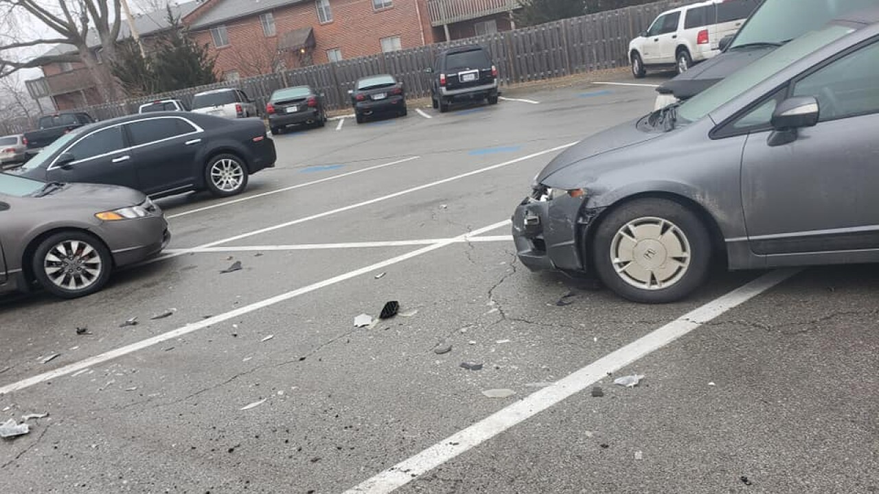 Cars hit in Truman High School Parking Lot