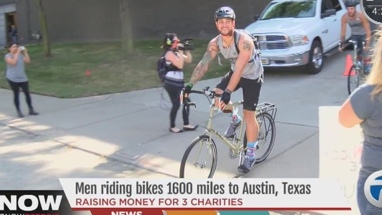 Men ride bikes from Detroit to Texas for charity
