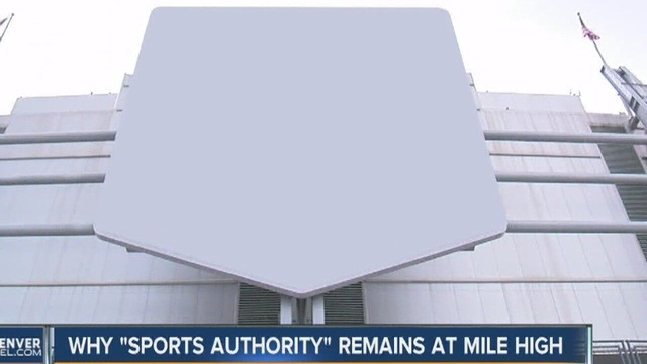 Why Sports Authority Field signs can't come down