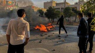 Iran Protests Road bBock