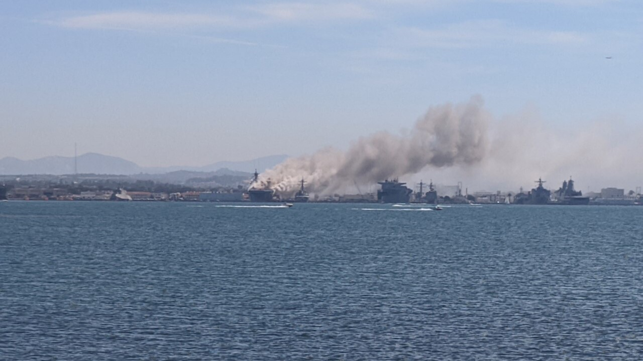 Ship fire erupts at Naval Base San Diego