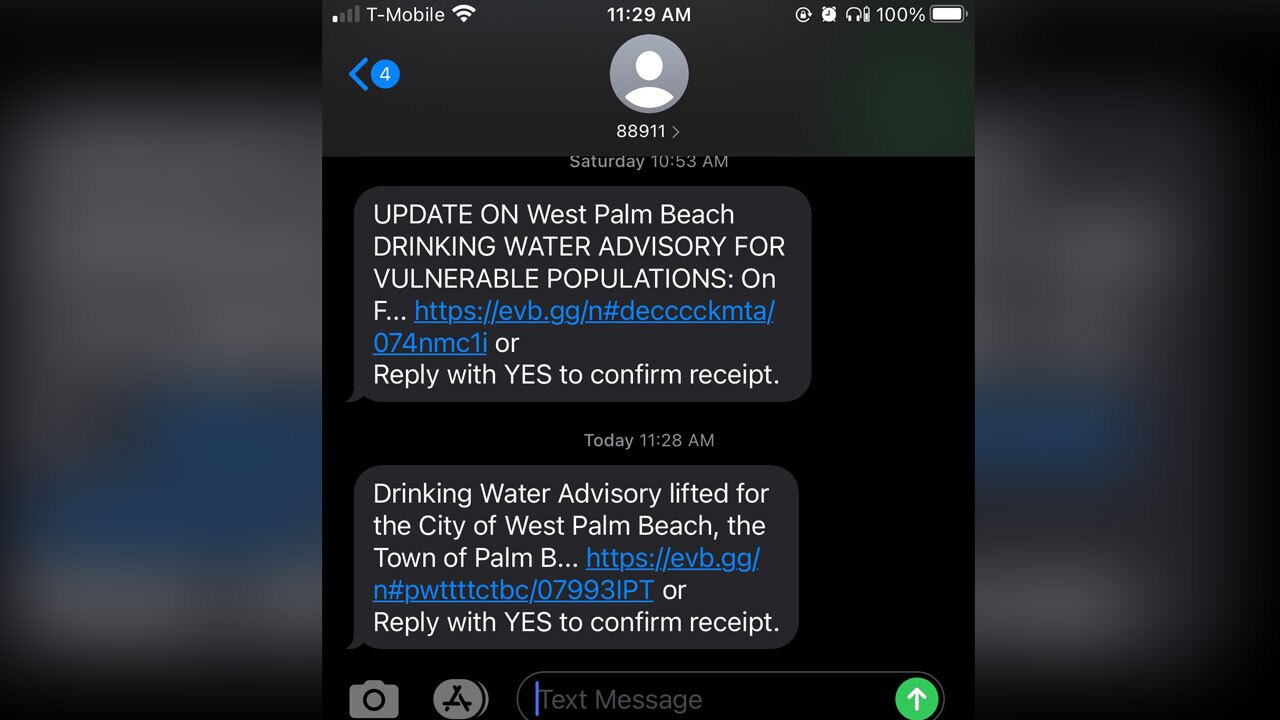West Palm Beach water customers received a text notifying them that the water advisory was lifted June 4, 2021