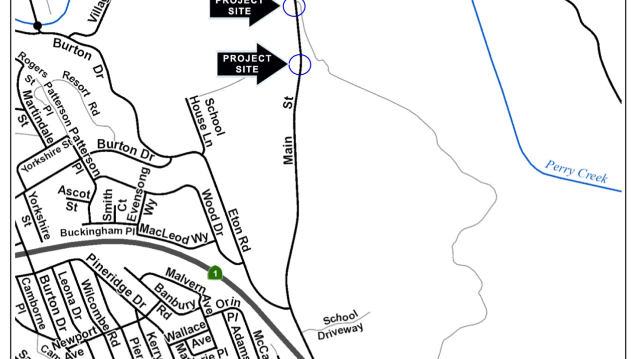 Map of Cambria guardrail replacement project