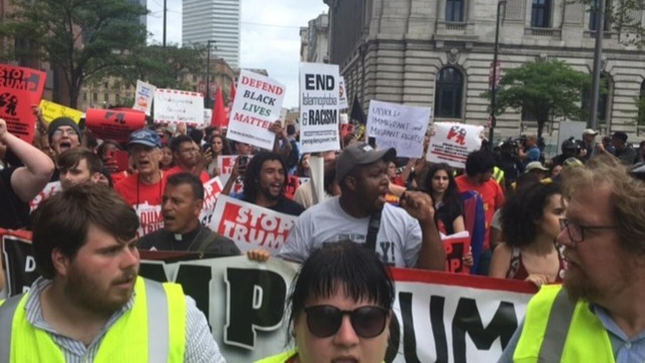 Anti-Trump protestors rally in Cleveland