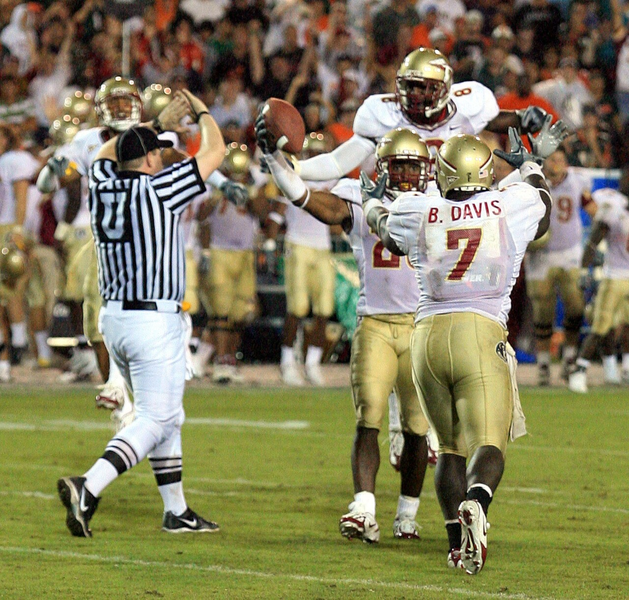 Florida State Seminoles cornerback Michael Ray Garvin celebrates interceptions against Miami Hurricanes in 2006