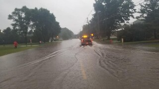sturgeon bay flooded road. Photo by Sturgeon Bay Police