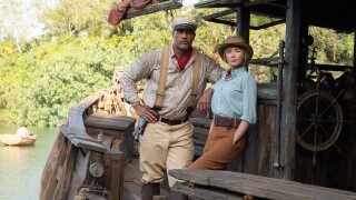 Dwayne Johnson and Emily Blunt in promotional photo for 'The Jungle Cruise'